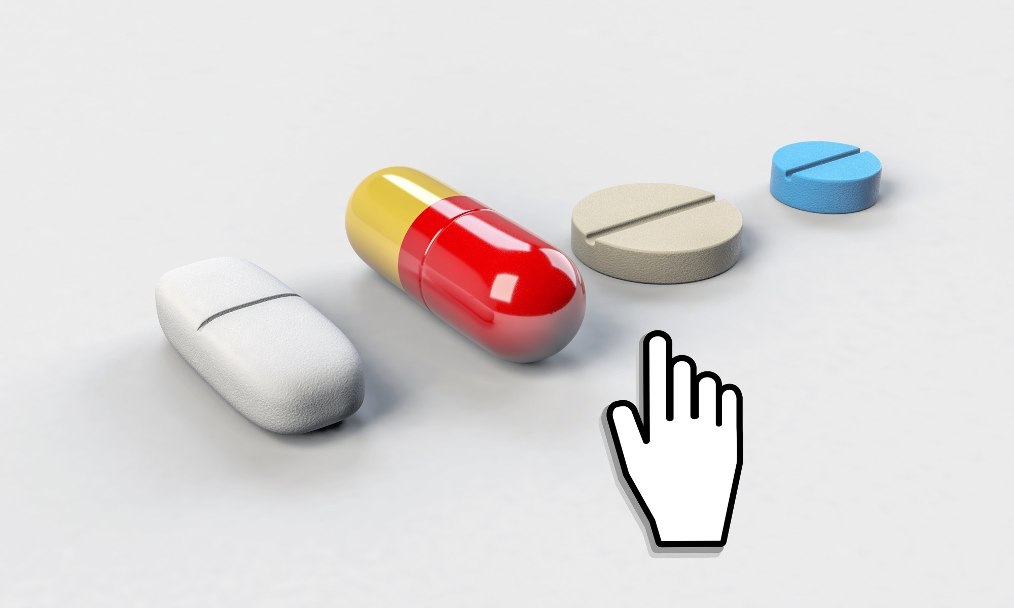 mouse cursor choosing to buy medicine online