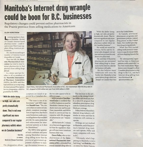 Manitoba's Internet drug wrangle could be boon for B.C. businesses